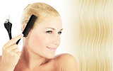 Beautiful blonde female dyeing hair