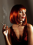 Beautiful woman smoke cigarette