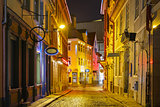 Night street in the Old Town of Riga, Latvia
