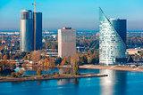 Aerial view of skycrapers in Riga, Latvia