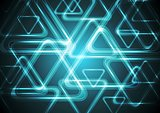 Dark cyan glowing triangles. Tech geometric background
