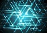 Dark cyan glowing triangles. Tech geometric background