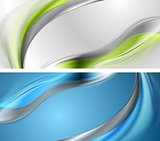 Bright blue and green wavy banners