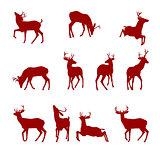 Various Silhouettes of Deer
