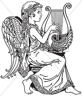 angel playing lyre black and white
