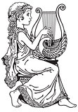 girl playing lyre black and white
