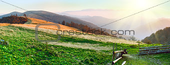 Autumn sunset mountain panorama (Carpathian Mt's, Ukraine)