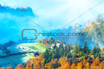 Autumn misty morning mountainside