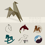 a lot of logos depicting horses