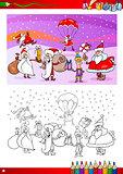 santa claus characters coloring book