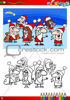 christmas characters for coloring book