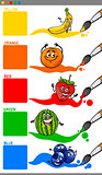 main colors with cartoon fruits