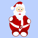 Funny cartoon Santa Claus with bag with gifts
