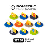 Isometric flat icons set 30
