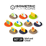 Isometric flat icons set 29