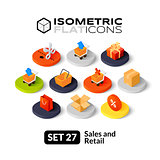 Isometric flat icons set 27