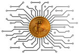 Bitcoin Circuit Over White Background