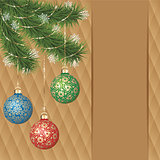 Vector gold ornament christmas balls on green pine branch. Gold diamond background greeting card