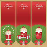 Set vector cartoon banners with flat icons Santa Claus with snowballs, candy sticks, glass of milk, cookie, presents and red sack