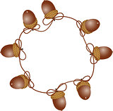 Circular frame with autumn acorns