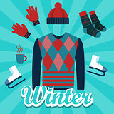 winter object icon set flat illustration items such as sweater, hat, hand glove, shocks, hot drinks, ice skating shoes