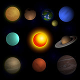 This image is a vector file representing a computer monitor display isolatedSet of realistic tablets with blank screen isolated on white backgroundVector illustration planets Solar system and sun on black space background