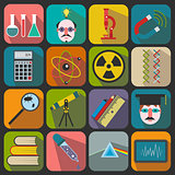 Set of flat science icons on a color background