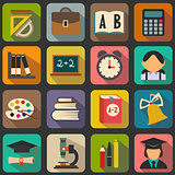 Set of flat school icons on a color background