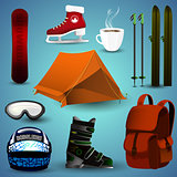 A set of sports equipment for winter sports