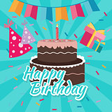 celebrate happy birthday cake flat illustration vector greetings colorful icon bright color