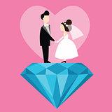 man woman married wedding bride cartoon with blue diamond love flat illustration couple