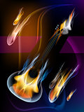 Guitar in flames.