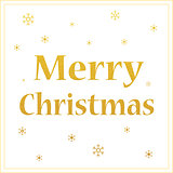 merry christmas gold glittering design with snowflakes