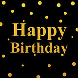 happy birthday gold glittering design on black background