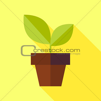 Flat Biology Nature Pot with Plant Illustration with long Shadow