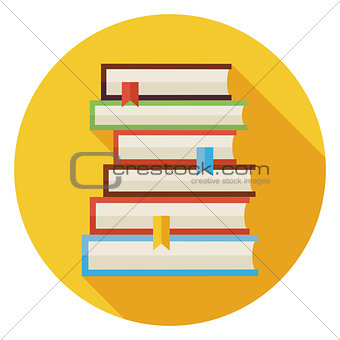 Flat Books with Bookmarks Circle Icon with Long Shadow