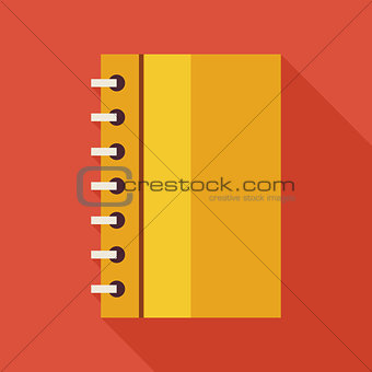 Flat Business Office Notebook with Spiral Illustration with long