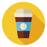 Flat Hot Drink Coffee Cup Circle Icon with Long Shadow