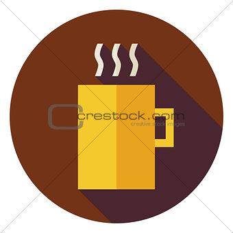 Flat Hot Drink Cup Circle Icon with Long Shadow