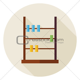 Flat Math Counter Abacus Circle Icon with Long Shadow