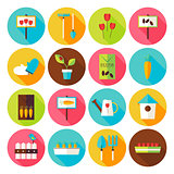 Flat Nature Garden Circle Icons Set with long Shadow