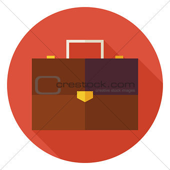Flat Office Business Briefcase Circle Icon with Long Shadow