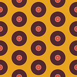 Flat Seamless Background Pattern Music Vinyl Disc over Yellow