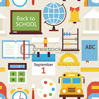 Flat Seamless Pattern Back to School Objects over Beige
