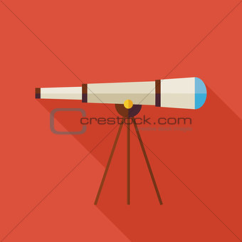 Flat Space Instrument Telescope Illustration with long Shadow