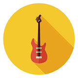 Flat String Bass Guitar Circle Icon with Long Shadow