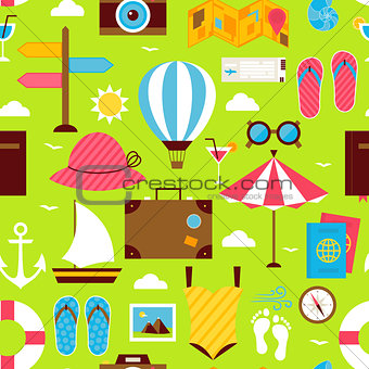 Flat Summer Time Travel Seamless Pattern