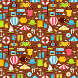 Flat Summer Travel Voyage Seamless Pattern