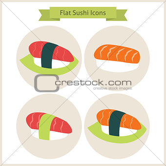 Flat Sushi Set Circle Icons