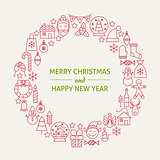 Christmas New Year Holiday Line Art Icons Set Circle